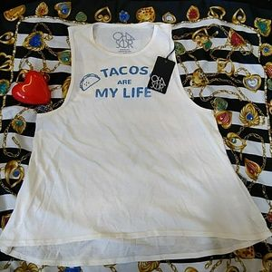 BNWT CHASER TANK ..SIZE M TACOS R MY LIFE
